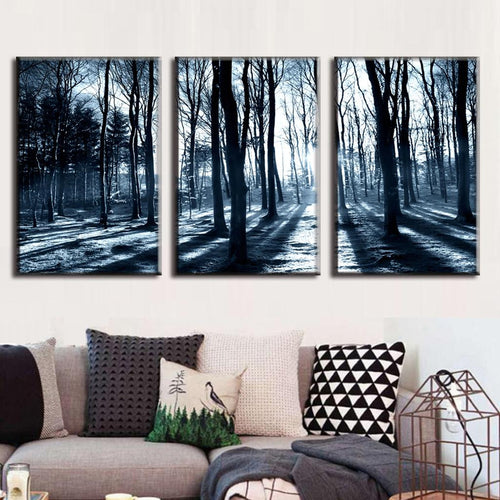 Winter Forest - 3 Piece Panel Art - BigWallPrints.com - 2