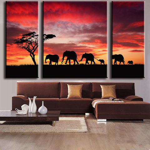 Elephant Safari Red Sky Sunset