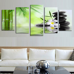 Bamboo Stone Scenery - 5 Piece Panel Art - BigWallPrints.com - 1