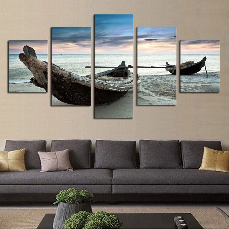Canoes on the Beach - 5 Piece Panel Art - BigWallPrints.com - 1