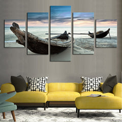 Canoes on the Beach - 5 Piece Panel Art - BigWallPrints.com - 2