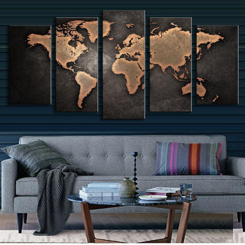 World Map in Black and Brown - 5 Piece Panel Art - BigWallPrints.com - 2