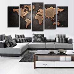 World Map in Black and Brown - 5 Piece Panel Art - BigWallPrints.com - 3