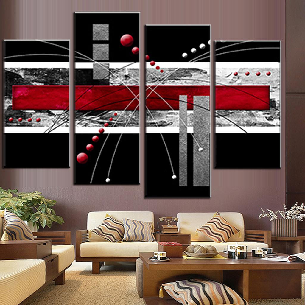 Red, Black, Gray Abstract Rectangles