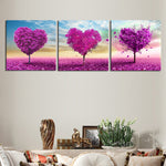 Purple Heart Trees - 3 Piece Panel Art - BigWallPrints.com - 3
