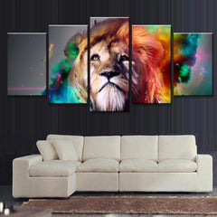 Abstract Colorful Lion's Head