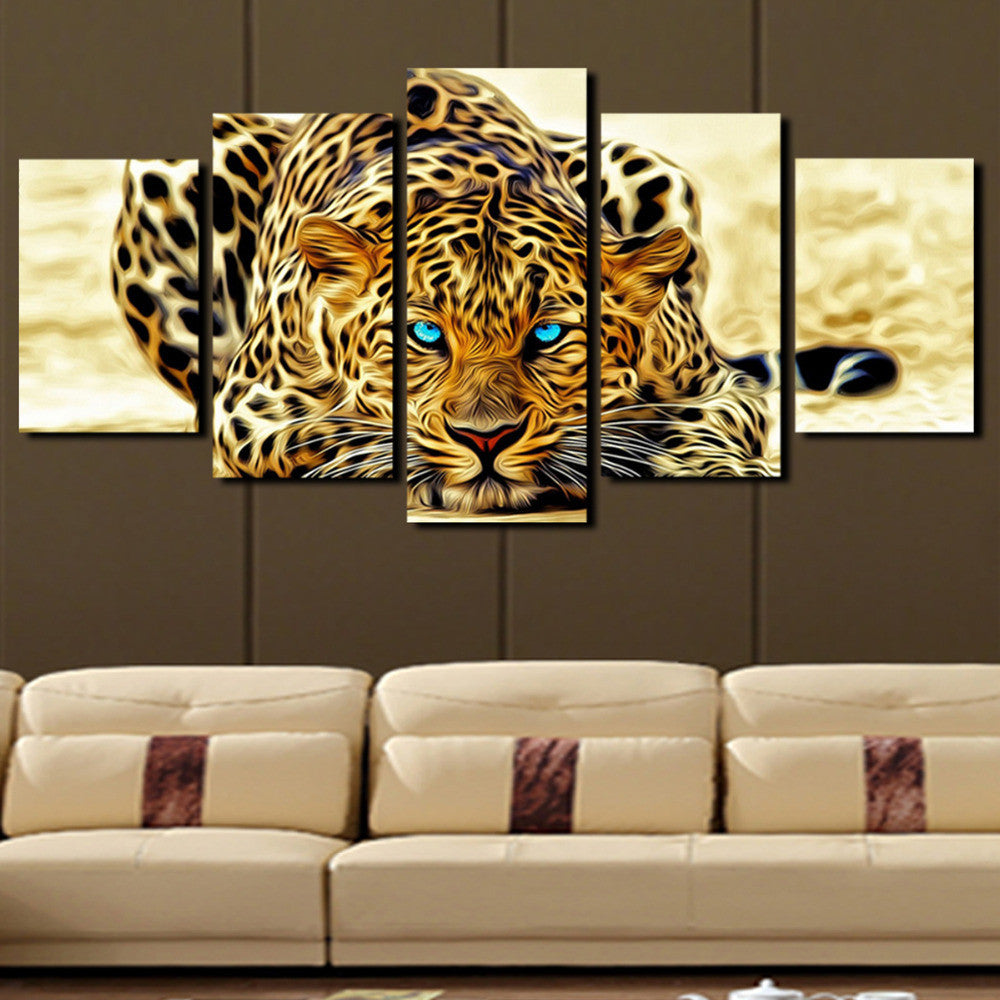 Blue Eyed Leopard - 5 Piece Panel Art - BigWallPrints.com