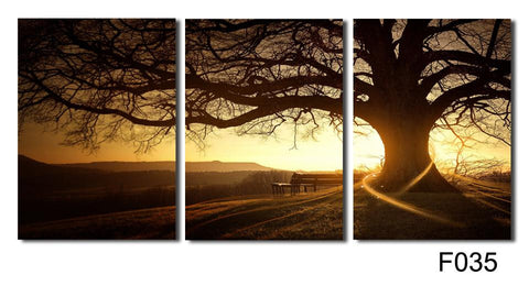 Tree in the Sunset - 3 Piece Panel Art - BigWallPrints.com - 1