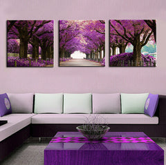 Purple Tree Path - 3 Piece Panel Art - BigWallPrints.com - 1