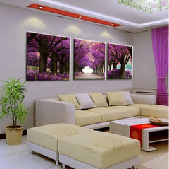 Purple Tree Path - 3 Piece Panel Art - BigWallPrints.com - 2