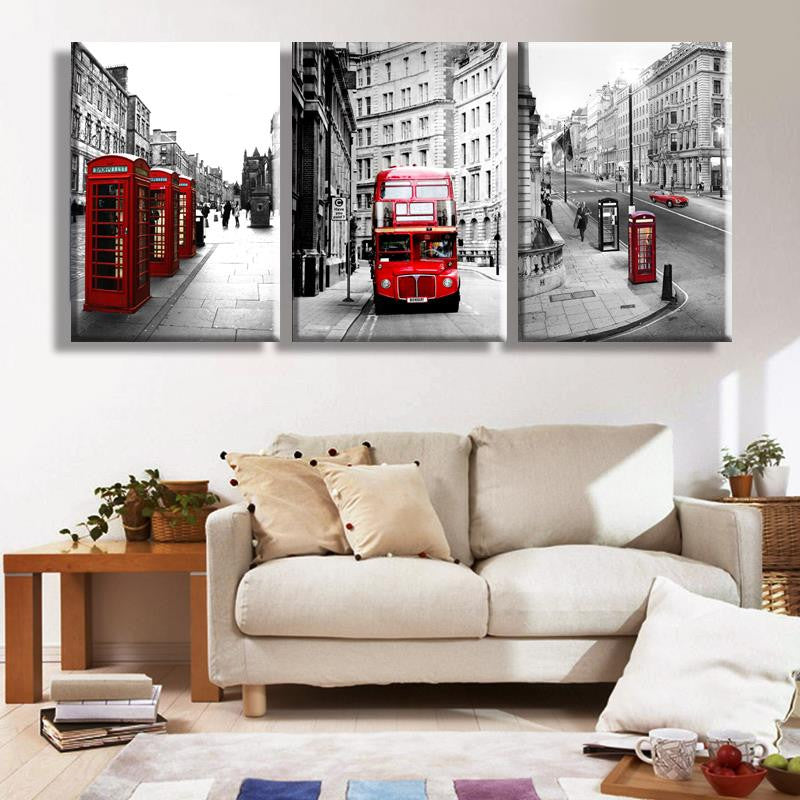 London Landscape - 3 Piece Panel Art - BigWallPrints.com - 1