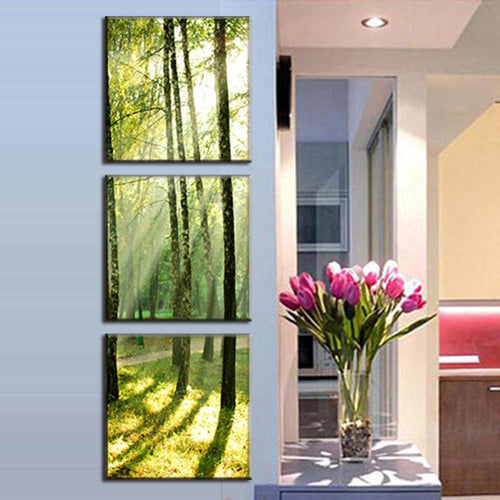 Sunshine Through the Trees - 3 Piece Panel Art - BigWallPrints.com - 2