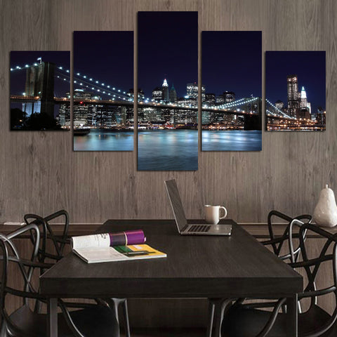New York City Skyline - 5 Piece Panel Art - BigWallPrints.com - 1