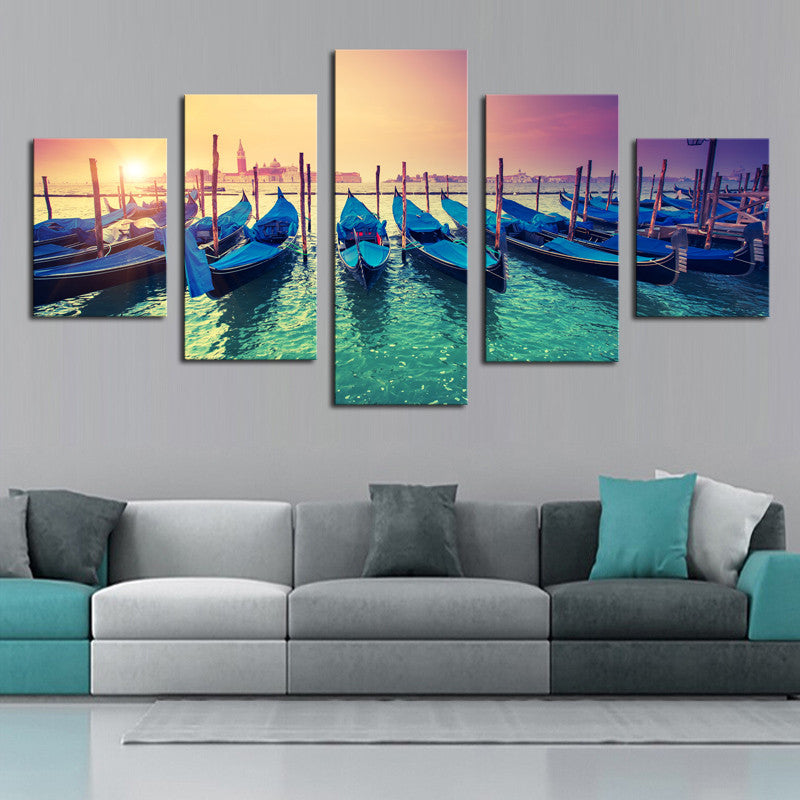 Boats in the Sunset - 5 Piece Panel Art - BigWallPrints.com - 1