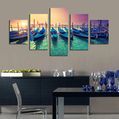 Boats in the Sunset - 5 Piece Panel Art - BigWallPrints.com - 2
