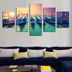 Boats in the Sunset - 5 Piece Panel Art - BigWallPrints.com - 3