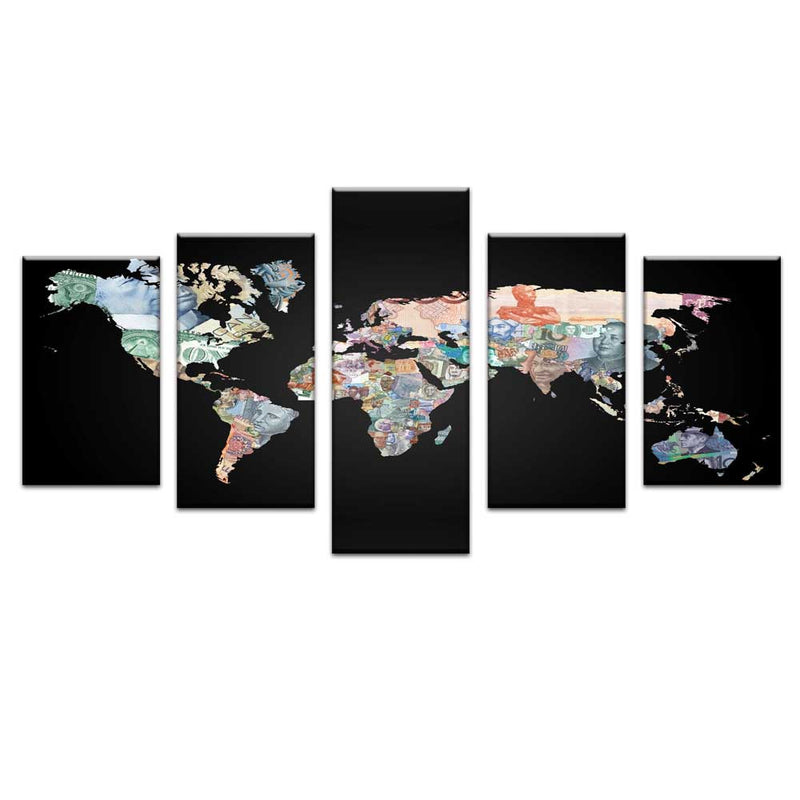 World Map in Currency Notes