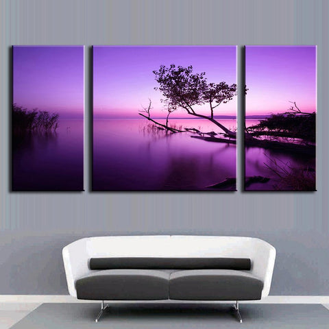Purple Sky Tree on Water