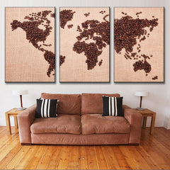 World Map in Coffee Beans