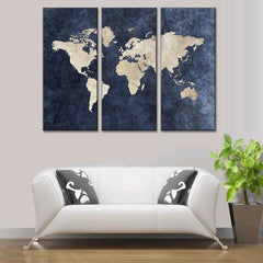 World Map on Navy Canvas