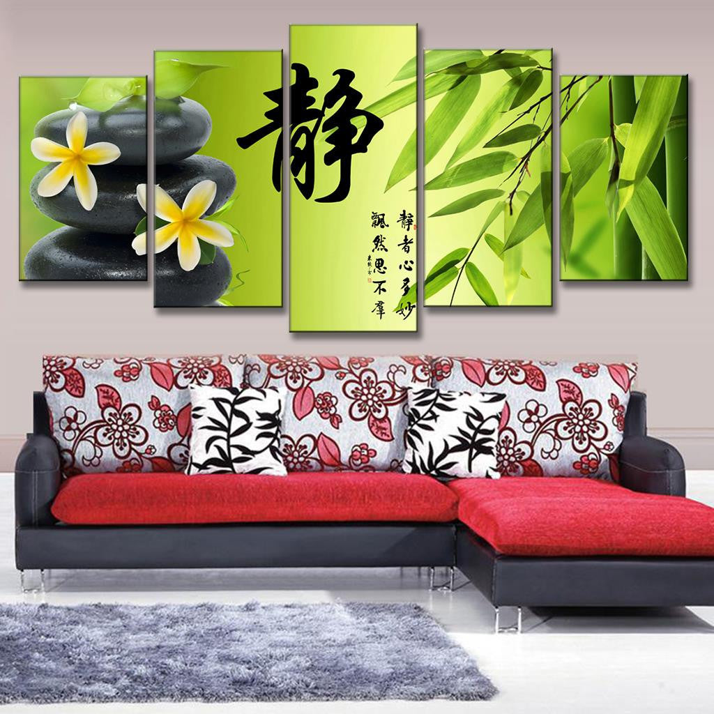 Bamboo and Stone with Flower