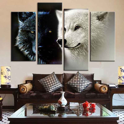 Black and White Wolf Pair
