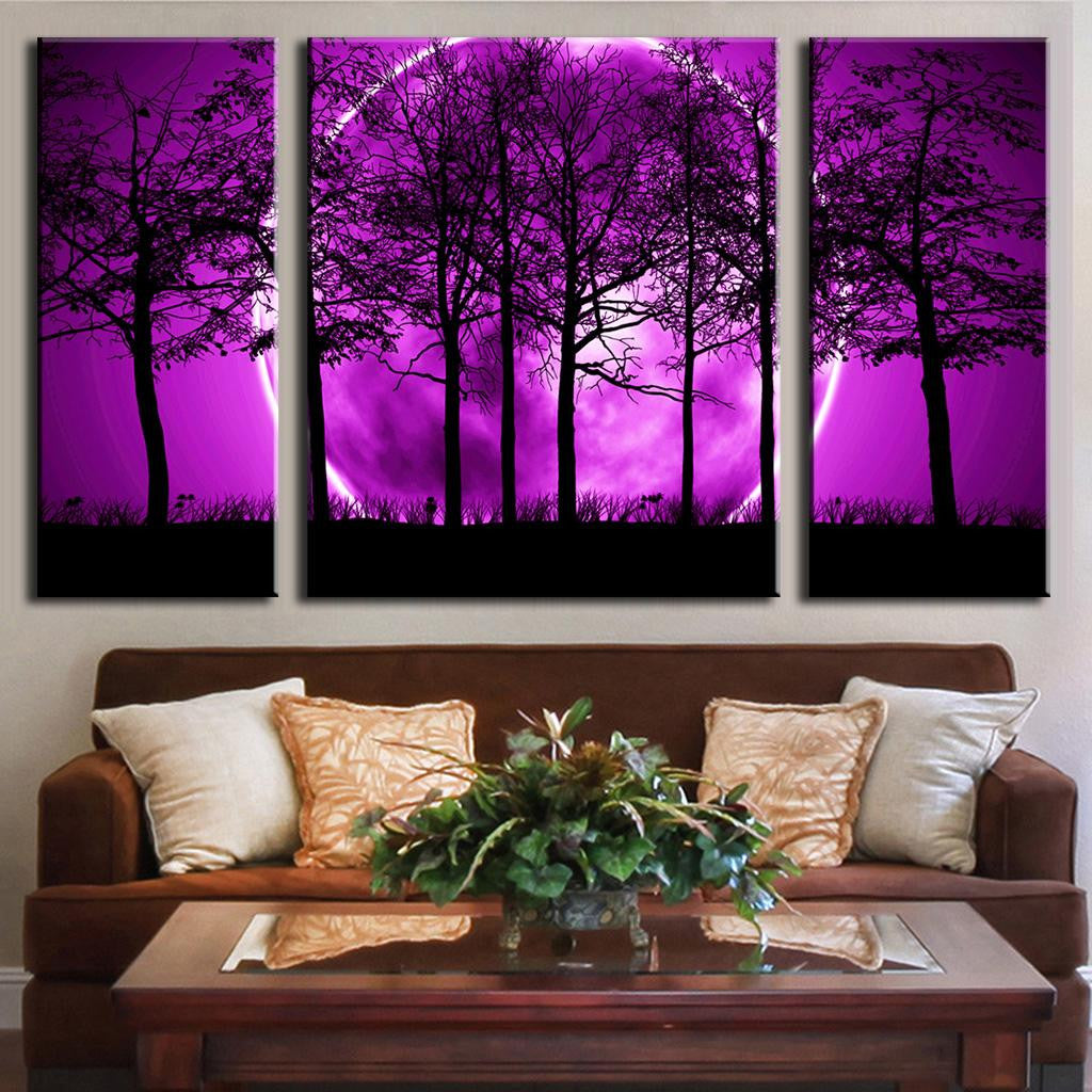 Purple Moon behind Trees