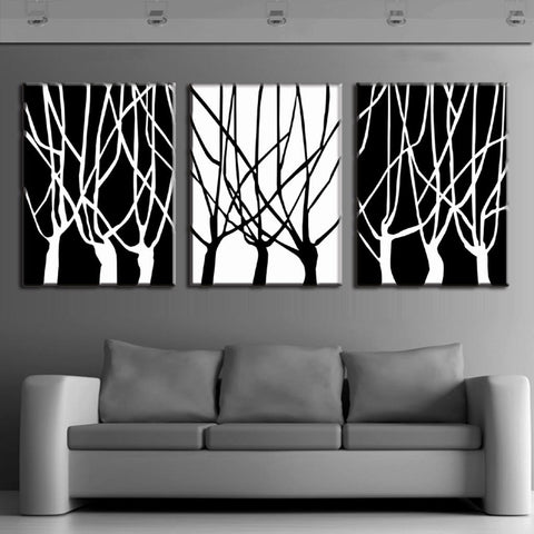 Black and White Tree Silhouettes