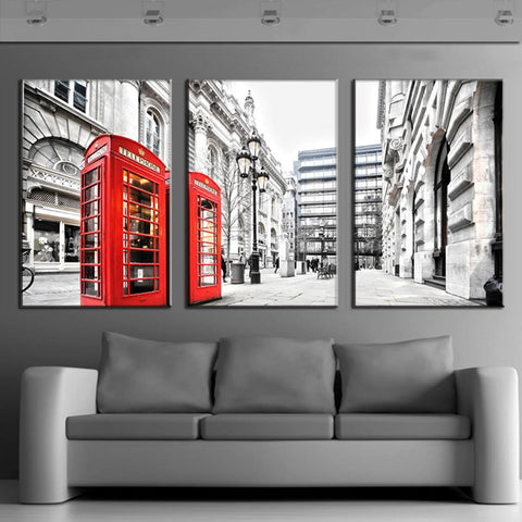 London Scene with Red Telephone Booths