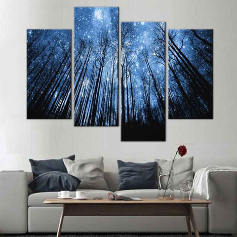 Exceptional Blue Forest With Starry Sky