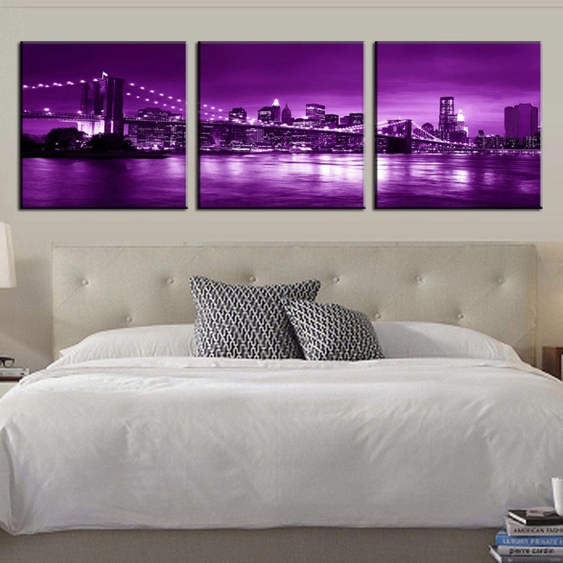 Brooklyn Bridge in Purple Night