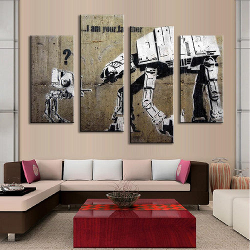 """I Am Your Father"" Banksy 4 Piece Panel Art"