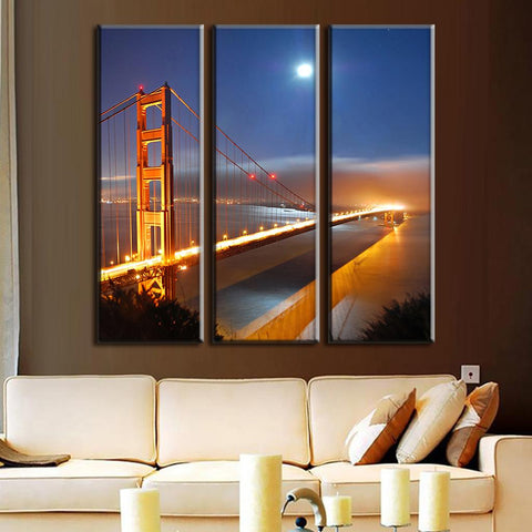 Golden Gate Bridge Under Moonlight