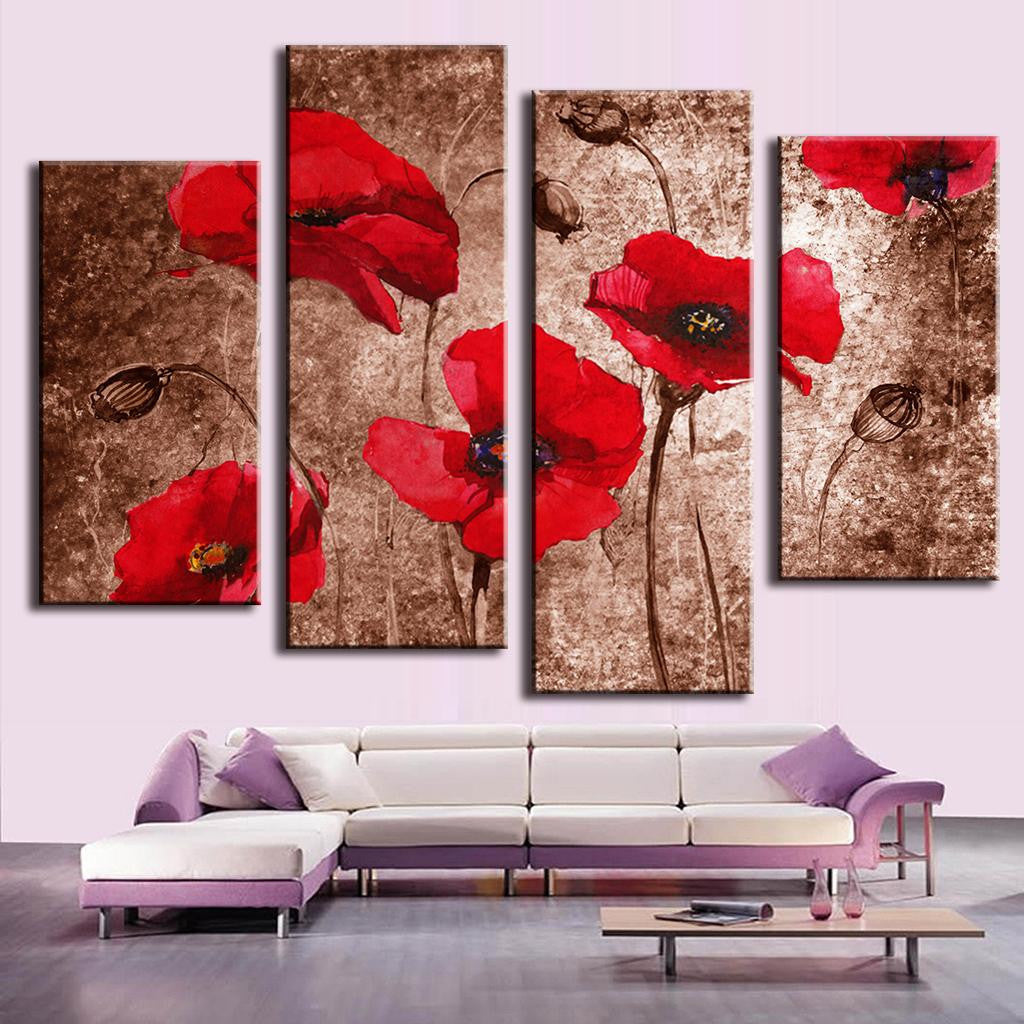 Poppies with Abstract Design