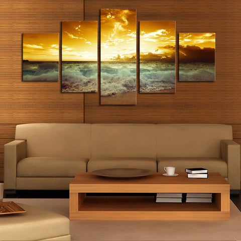 Crashing Waves in the Sunset - 5 Piece Panel Art - BigWallPrints.com - 2
