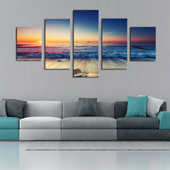 Waves and Sunset Scene - 5 Piece Panel Art - BigWallPrints.com - 1