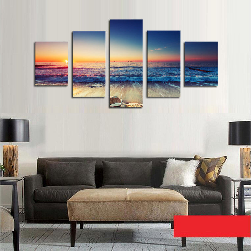 Waves and Sunset Scene - 5 Piece Panel Art - BigWallPrints.com - 3