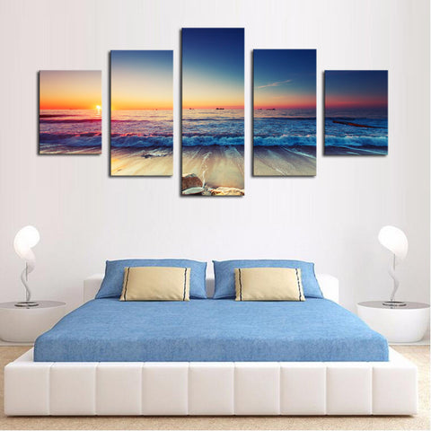 Waves and Sunset Scene - 5 Piece Panel Art - BigWallPrints.com - 2
