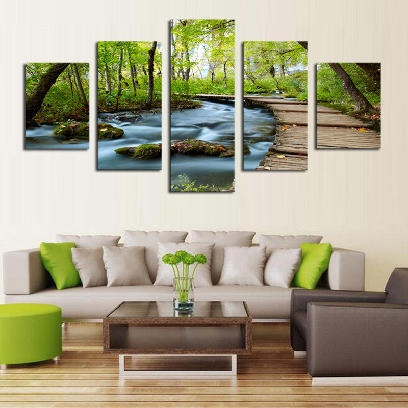 Woods and Waterfalls - 5 Piece Panel Art - BigWallPrints.com - 3
