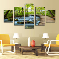 Woods and Waterfalls - 5 Piece Panel Art - BigWallPrints.com - 2
