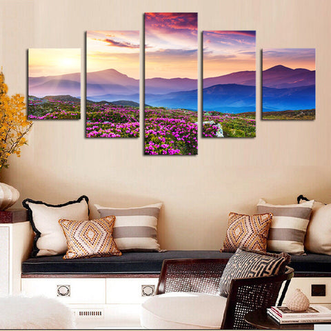 Mountainview Sunset- 5 Piece Panel Art - BigWallPrints.com - 1