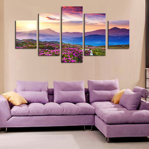 Mountainview Sunset- 5 Piece Panel Art - BigWallPrints.com - 2