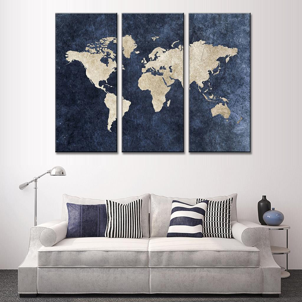 World map on navy canvas for Silver bedroom wall art