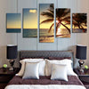 Palm Tree and Sunset - 5 Piece Panel Art - BigWallPrints.com - 2
