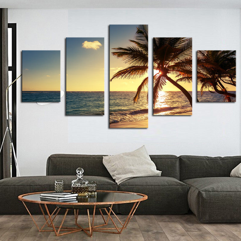 Palm Tree and Sunset - 5 Piece Panel Art - BigWallPrints.com - 1