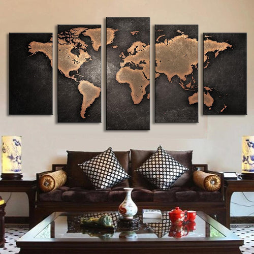 World Map in Black and Brown - 5 Piece Panel Art - BigWallPrints.com - 1
