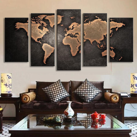 World Map In Black And Brown   5 Piece Panel Art   BigWallPrints.com
