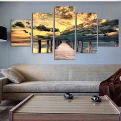 Dock and Seascape - 5 Piece Panel Art - BigWallPrints.com - 1