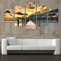 Dock and Seascape - 5 Piece Panel Art - BigWallPrints.com - 2