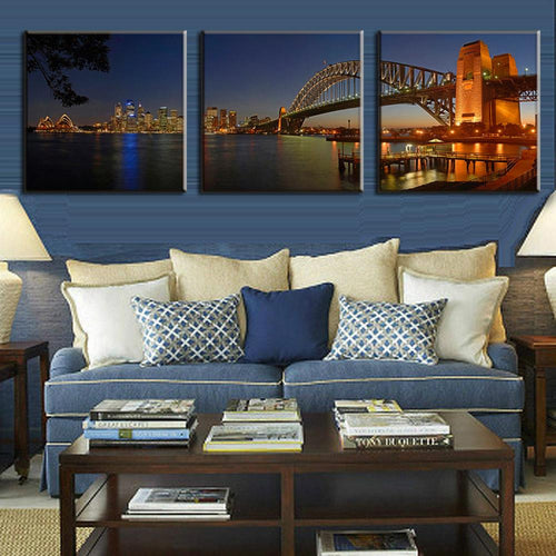 Sydney Harbour Bridge - 3 Piece Panel Art - BigWallPrints.com